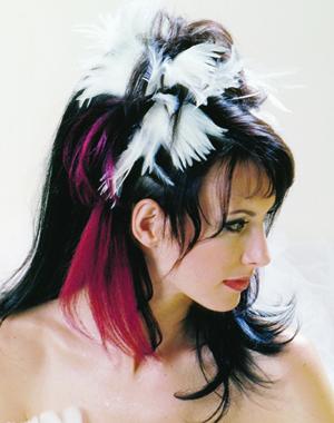 coiffure avec plumes